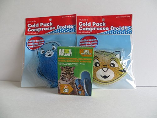 Reusable Cold Boo Boo Pack for Kids - 3 Pack - Blue Seal + Yellowish Tiger Cat + Animal Planet Bandages (Tiger Seal compare prices)