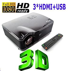3*HDMI USB 3D LED Multimedia HD 3000 lumen Projector 1080P Native 1280*768