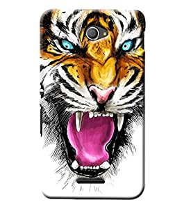 Blue Throat Tiger Annoying Printed Back Cover For Sony Xperia E4