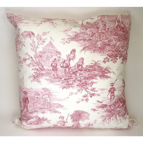 Large Red Toile De Jouy Throw Pillow front-44650