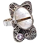 Ana Silver Co Rutilated Quartz, Amethyst 925 Sterling Silver Ring Size 8