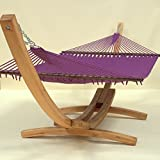 Jumbo Caribbean Hammock and Wood Arc Hammock Stand (Purple)