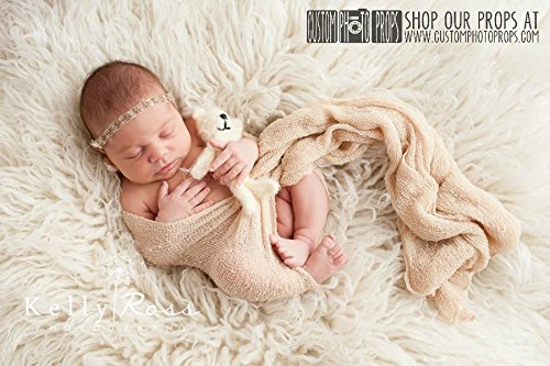 Eggnog Cream Nubble Boy Or Girl Newborn Stretch Baby Wrap Photo Prop (Swaddling And Hanging Videos) Newborn Photography Prop, Baby Props front-229102