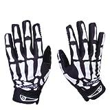 Bicycle Gloves Skeleton Pattern Full Finger Warm Bike Sports Gloves Black + White (XL)