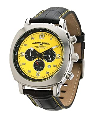Jorg Gray 3500 Mens Chronograph - Yellow Layered Dial with Black Leather - Date by JorgGray