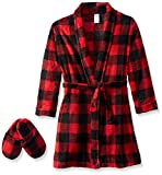 Image of Too Cool 2 Sleep Little Boys' Buffalo Check Robe with Slippers, Red, 3T