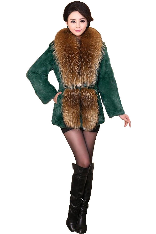 Queenshiny Damen 100% Echte Kaninchen Pelz Lange mantel Jacken Mit groß Waschbär Pelz kragen Winter Mode günstig online kaufen