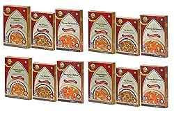 Sanskriti Combo of Paneer Butter, Veg Biryani & Moong Dal Halwa - Pack of 12 (4 each)