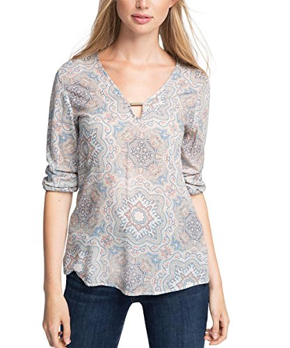 ESPRIT Collection 076EO1F006, Camicia Donna, Multicolore (Light Beige), XS/S (Taglia Produttore: 34)