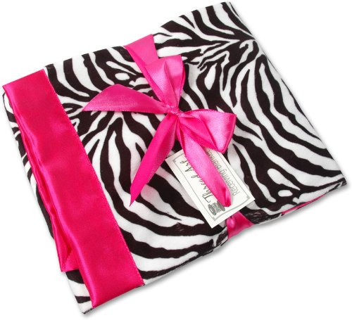 Receiving Blanket - Zebra Minky/Hot Pink Satin