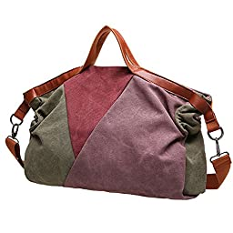 Lecxci Large [Thick Canvas Patchwork] Daily Shopping Totes Shoulder Crossbody Purse Handbags for Women Teen Girls (Cameo Brown)