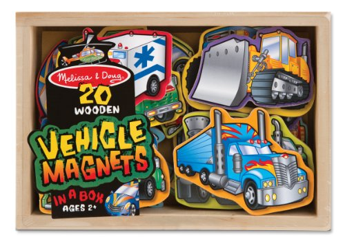 Melissa & Doug Wooden Vehicle Magnets In A Box (20 Pieces) back-363637