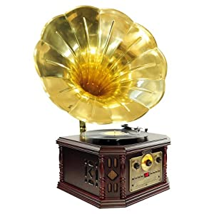 PYLE-HOME PVNP4CD Vintage Phonograph Horn Turntable with CD, Cassette, AM/FM, Aux-In and USB-to-PC Recording from Pyle Home