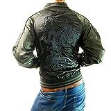 (フリースタイル)Freestyle 龍×虎 和柄 ブラック 刺繍 メンズ サテン スカジャン 3013-44 ブラック×チャコール L