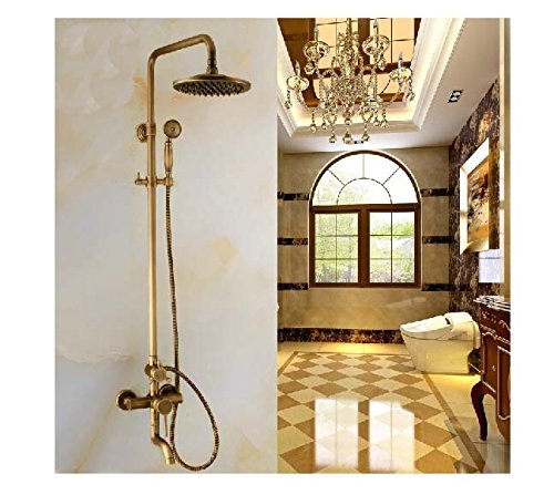 Rozin Luxury Antique Brass Tub Faucet Rain Shower Faucet With Hand Shower Mixer Tap front-470516
