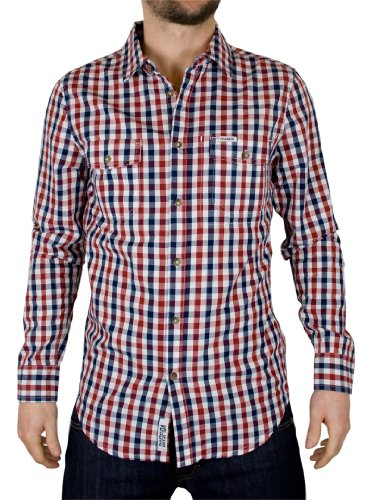 Voi Jeans Tango Red/Dress Blue Rusher Check Shirt - Size: XL