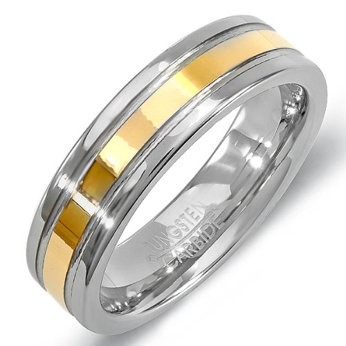Tungsten Carbide Mens Womens Ring Wedding Band 6MM Polished Flat Double Grooved Gold Plated Comfort Fit (Available in Sizes 8 to 12) size 10