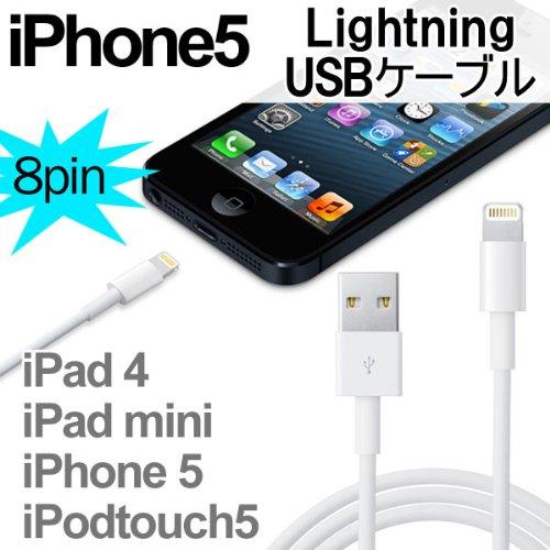 iPhone5/第4世代iPad/iPad mini/新型iPod対応 Lightning ライトニング USBケーブル 1m 【充電・データ転送に】
