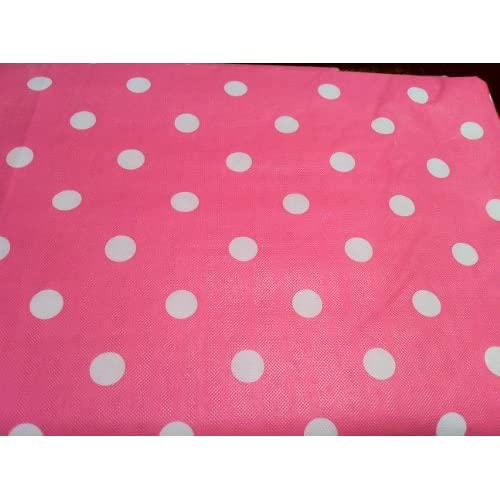 pink with white polka dots tablecloth 52 x70