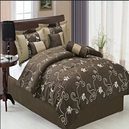 Luxury 7Pc King Size Covington Coffee Comforter Set By Sheetsnthings front-1057740