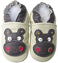 Carozoo baby boy soft sole leather infant toddler kids shoes Hippo Cream 5-6y