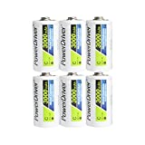 PowerDriver C Size C Cell 3000mAh Ni-CD Nicd Rechargeable Batteries,Pack of 6