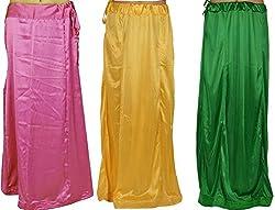 Odishabazaar Women's Satin Petticoat Underskirt Lining for Sari(Pack of 3)(gt-157_Multi-Coloured_Free Size)