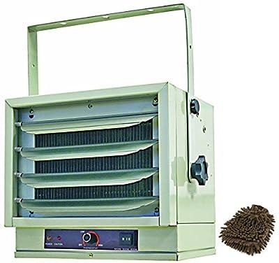 Comfort Zone CZ220 Heater, Industrial Fan-forced Ceiling Mount Utility (Complete Set) w/ Bonus: Premium Microfiber Cleaner Bundle