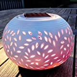 Set of 2 Colour Changing LED Garden Solar Filigree Table Lights