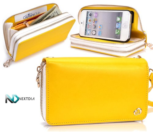 Best Price Apple iPhone 5 Runway Clutch/Purse by KroO [Yellow] Smartphone Case/Wallet with Attachable Wristlet and a Complimentary NextDia ™ Velcro Cable Strap
