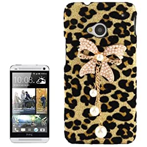 3D Pearl Bowknot Encrusted Leopard Pattern Shimmering Powder Plastic Case for HTC One / M7