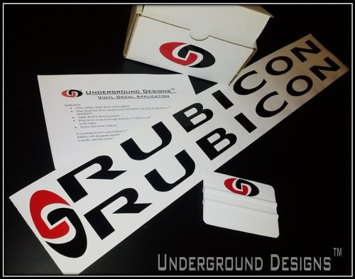 Rubicon Jeep Hood (Pair X2) Decal Kit Flat Black By Underground Designs