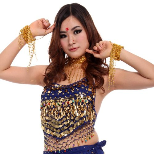 Urparcel Women Coins Sexy Belly Dance Bra Top Blouse Costume Adjustable Bellyband Vest