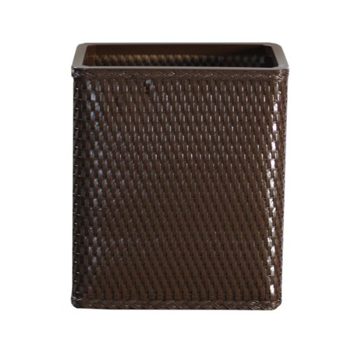 Lamont Home Carter Wicker Waste Basket, Chocolate front-957204