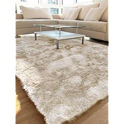 benuta Teppiche: Hochflor Teppich Whisper Quadratisch Beige 60x60 cm - schadstofffrei - 100% Polyester - Uni - Handgetufted - Wohnzimmer