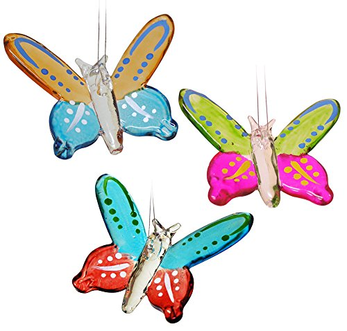 Butterfly Ornaments - Set of 3 Colorful Glass Butterfly Ornaments - Crystal Christmas Ornaments - Butterfly Memorial - Colorful Butterfly Wings (Crystal Butterfly Ornament compare prices)
