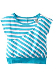 One Step Up Little Girls' Sequin Trim Dolman Sleeve Top