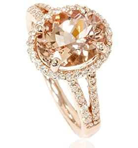 3.00CT Morganite & Diamond Engagement Ring 14K Rose Gold Halo Split Shank