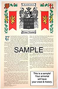 LORÉ - Armorial Name History & Coat of Arms Scroll - 11 x 17 inches (A3) - Family Crest - Genealogy - Heraldry - Heraldic