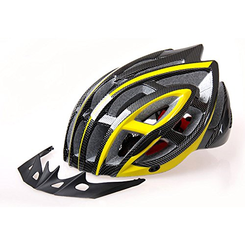 Ezyoutdoor Bike Cycling Helmet BMX MTB Road Bicycle Outdoor Integrally-Molded Helmet 28-Hole Design With Cap Peak Large Size (Black/Yellow) (Cycling Jersey Black Venom compare prices)