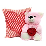 Hamper of Compassion Valentine Gift Heart Printed Cushion N Pink Teddy GIFTS110183 Romantic Valentine Gift,Valentine Gift for Him,Valentine Gift for Her,Valentine Gift for Boyfriend,Valentine Gift for Girlfriend,Valentine Gift for Husband,Valentine Gift for Wife