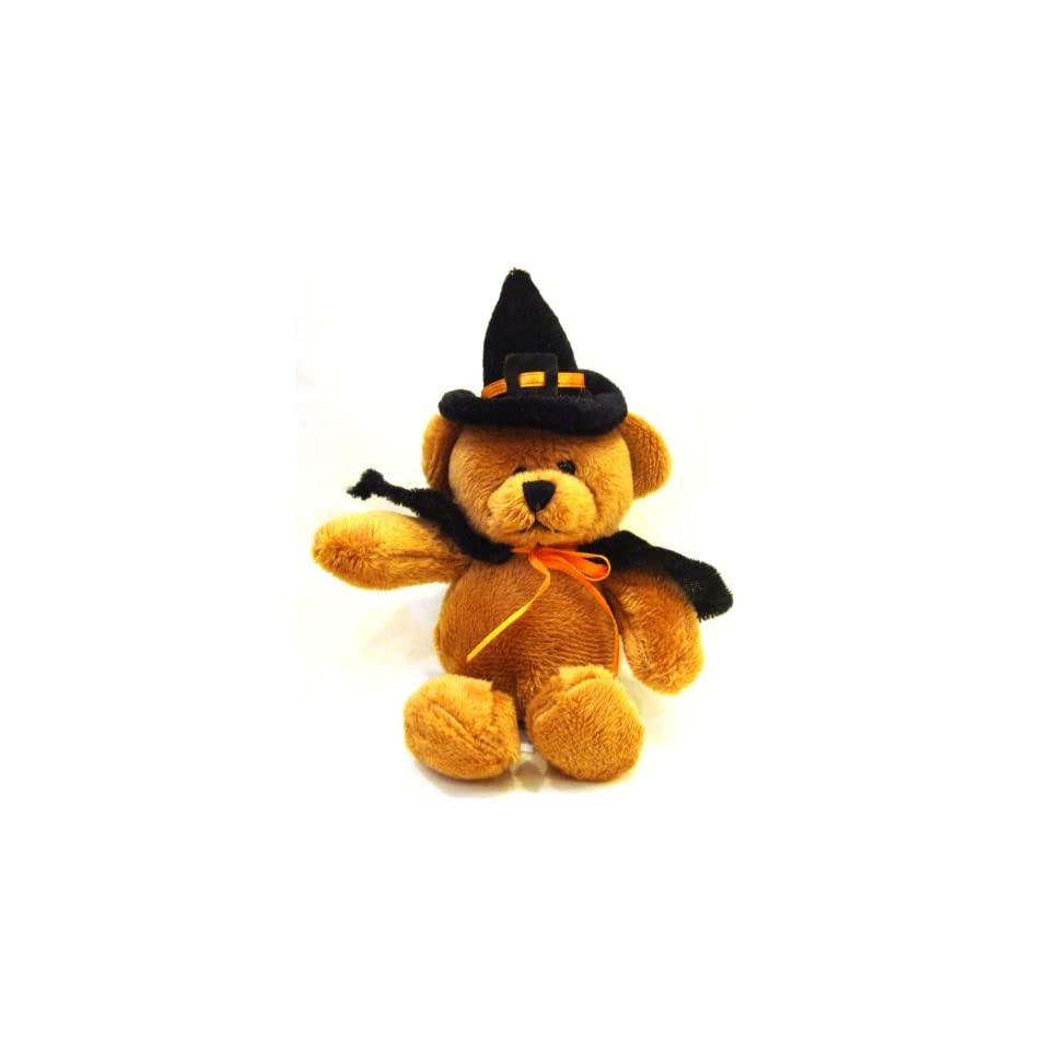 Orange Ribbon Teddy Bear Witch Halloween Plush Toy