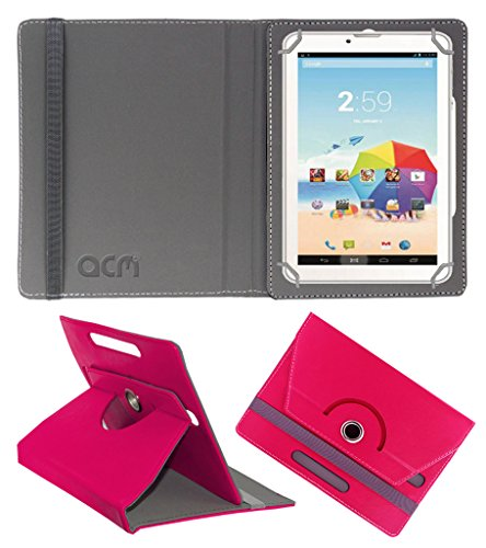 Acm Rotating 360° Leather Flip Case For Karbonn St52 Tablet Cover Stand Dark Pink  available at amazon for Rs.149