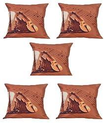 meSleep Digitally Printed Guitar 5 Piece Cushion Cover Set - Multicolor