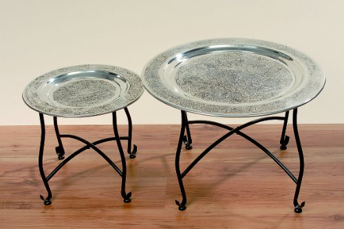Orientalische Beistelltische tisch beistelltisch couchtisch aluminium orientalisch 60cm