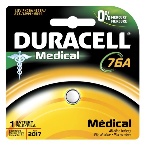 Duracell Px76A675Pk05 Medical Mercury Free Alkaline Button Cell Battery, 1.5V, 105 Mah Capacity (Case Of 6)