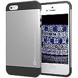 JETech® Deux-couche Slim de protection iPhone 5/5S Case Coque Housse Etui pour Apple iPhone 5 5S (2-couche) (Argent)