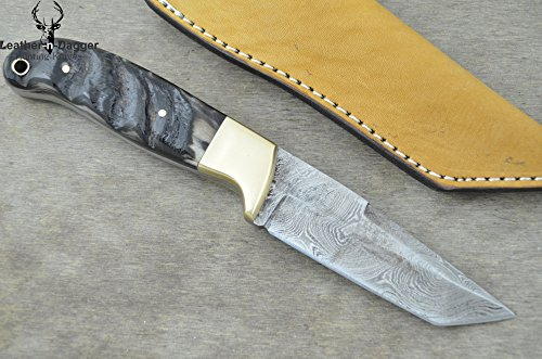 Leather-n-dagger | Professional High Quality Custom Handmade Damascus Steel Hunting Knife Ram Horn (100% Satisfaction Guaranteed) Great Gift Ld186