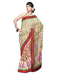 Unnati Silks Women Half And Half Tussar Silk Embroidery Cream Saree With Matching Blouse