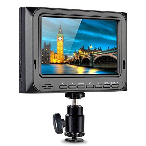 "Koolertron Neu 5"" HD LCD Monitor mit HDMI Eingang Video Monitor (Auflösung: 800 * 480,Kontrast: 500:1)Mit Kopfhörer Stereo-Ausgang DSLR Kamera Canon 5D II + Sonnenschutz + + Hot Shoe + Sony F970 Platte"